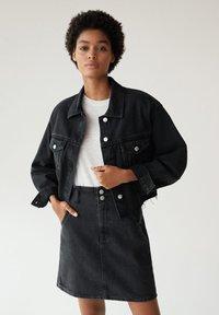 Mango - PAPERBAG - A-line skirt - black denim - 0