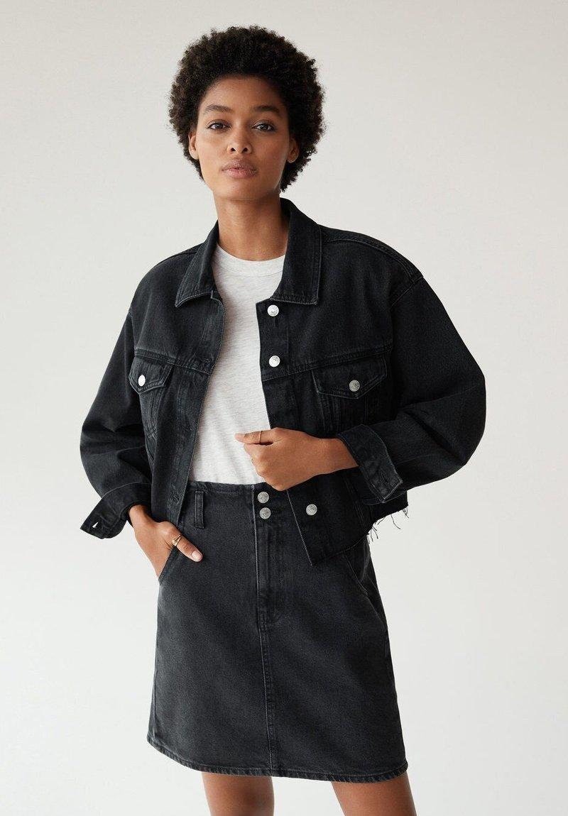 Mango - PAPERBAG - A-line skirt - black denim