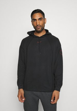 LOOSE FIT - Sweat à capuche - black/team orange