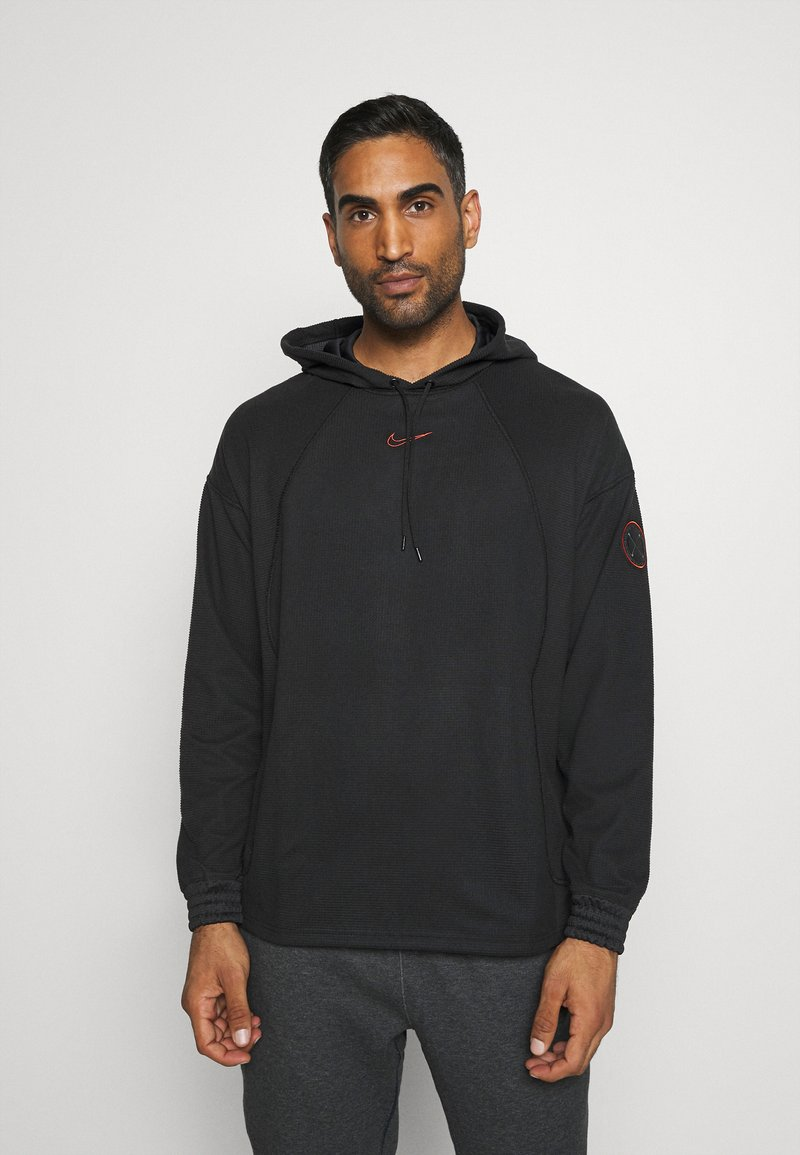 Nike Performance - LOOSE FIT - Mikina s kapucí - black/team orange