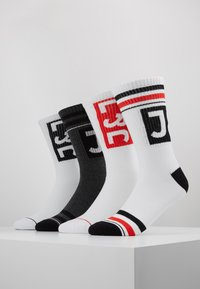 Jack & Jones - BLOCK LOGO TENNIS 4 PACK - Socks - dark grey melange/black/white/fiery red - 0