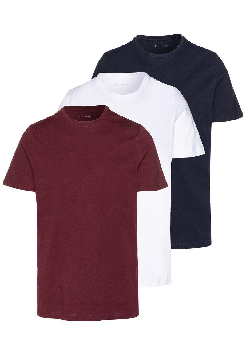 Pier One - 3 PACK - T-shirts basic - white/dark blue/red