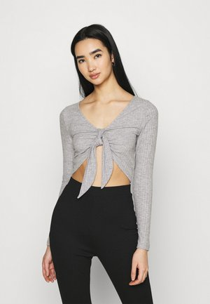 TIE FRONT BRUSHED - Long sleeved top - grey marl