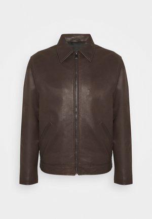 JACKET REGULAR FIT - Leather jacket - seal brown