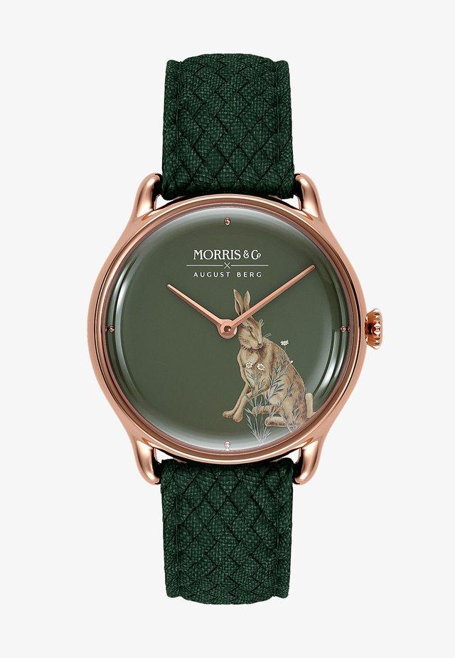 UHR MORRIS & CO ROSE GOLD GREEN PERLON 30MM - Horloge - crimson