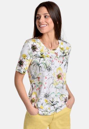SLUB FLOWERS - T-shirt print - white/yellow