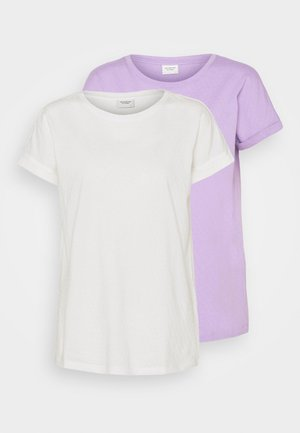 JDYPASTEL LIFE 2 PACK - Print T-shirt - cloud dancer/viola