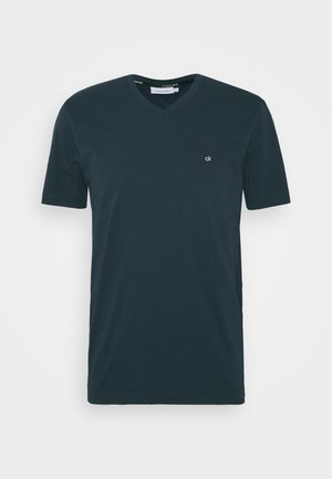 V-NECK CHEST LOGO - T-shirt basic - blue