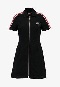 STRIPE SHIRT DRESS - Denní šaty - black/burgundy