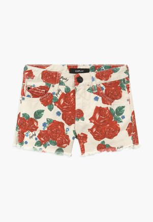 Denim shorts - white/red
