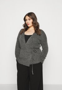 Kaffe Curve - KCWELLY WRAP - Cardigan - dark grey mélange - 0