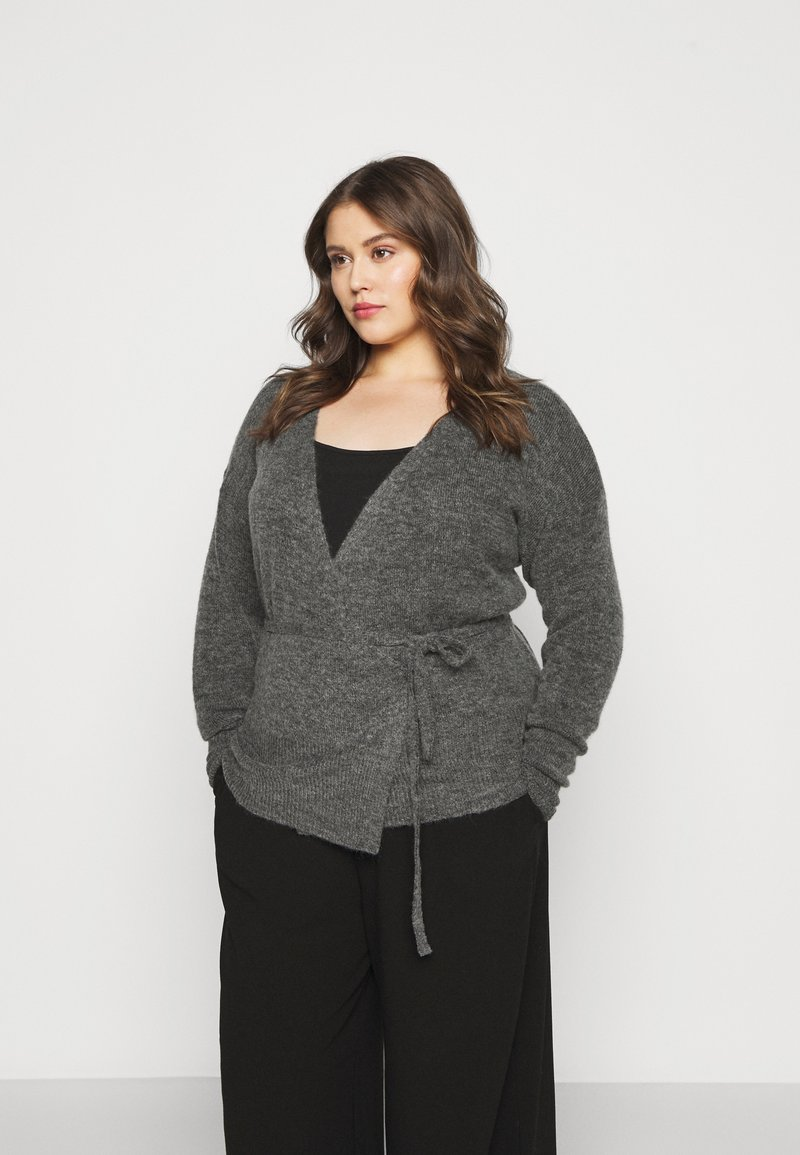 Kaffe Curve - KCWELLY WRAP - Cardigan - dark grey mélange