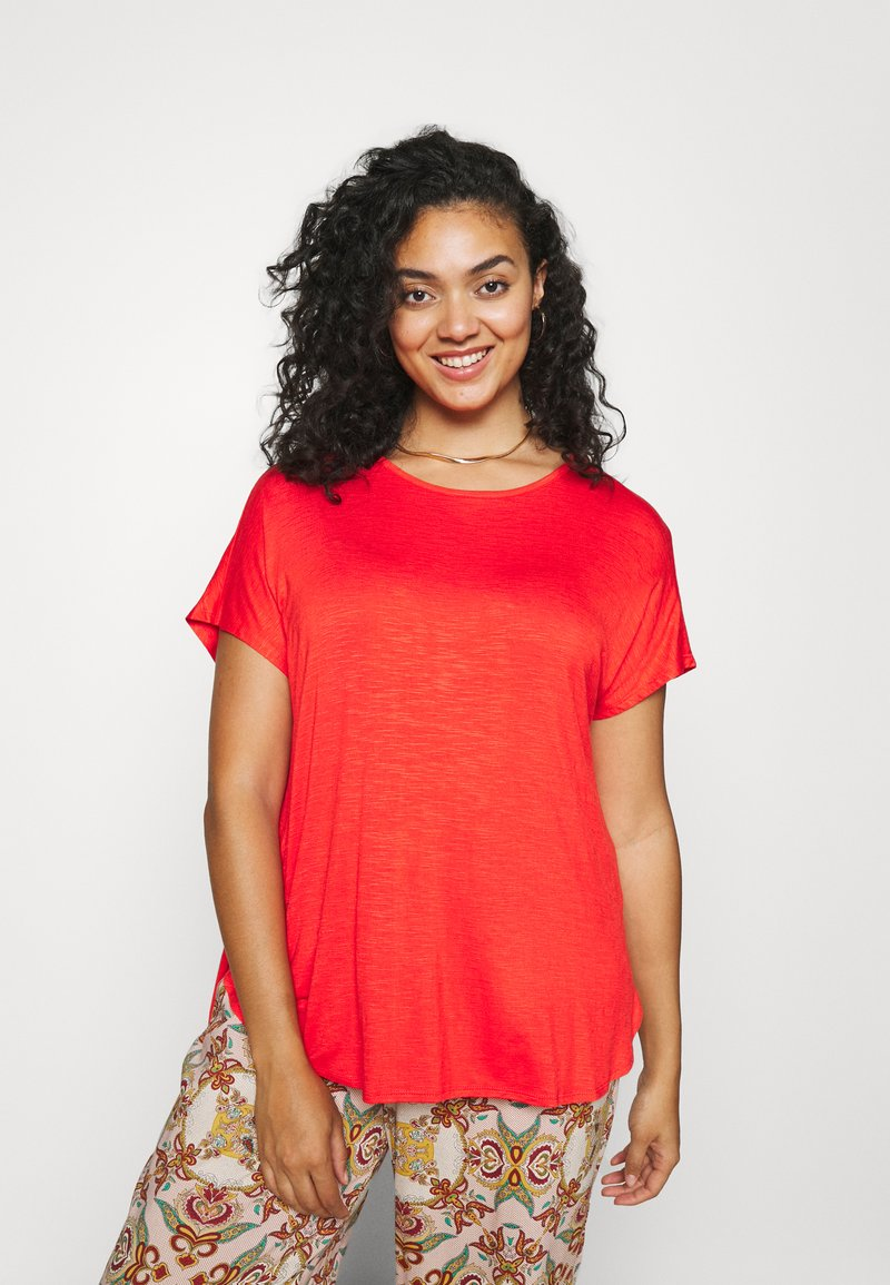 CAPSULE by Simply Be - TWIST BACK DETAIL - T-shirts - bright red