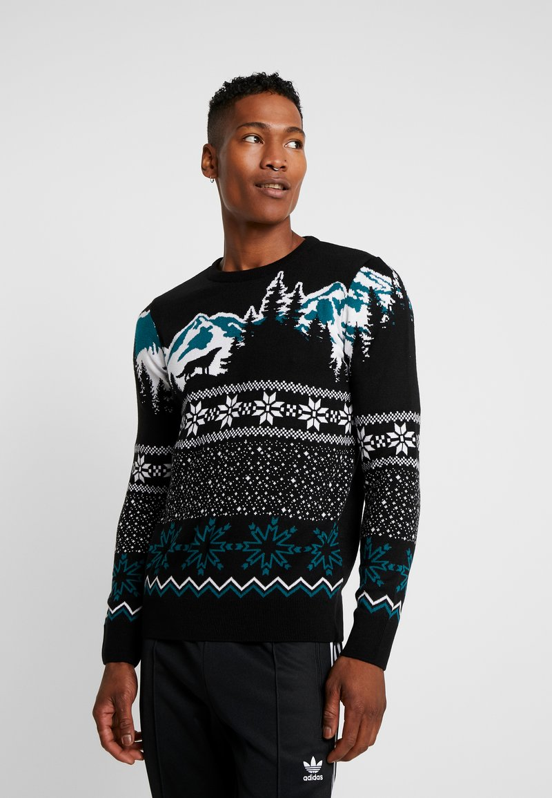 New Look - WOLF FAIRISLE CREW - Svetr - black
