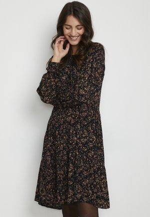 Shirt dress - black multi col flower print