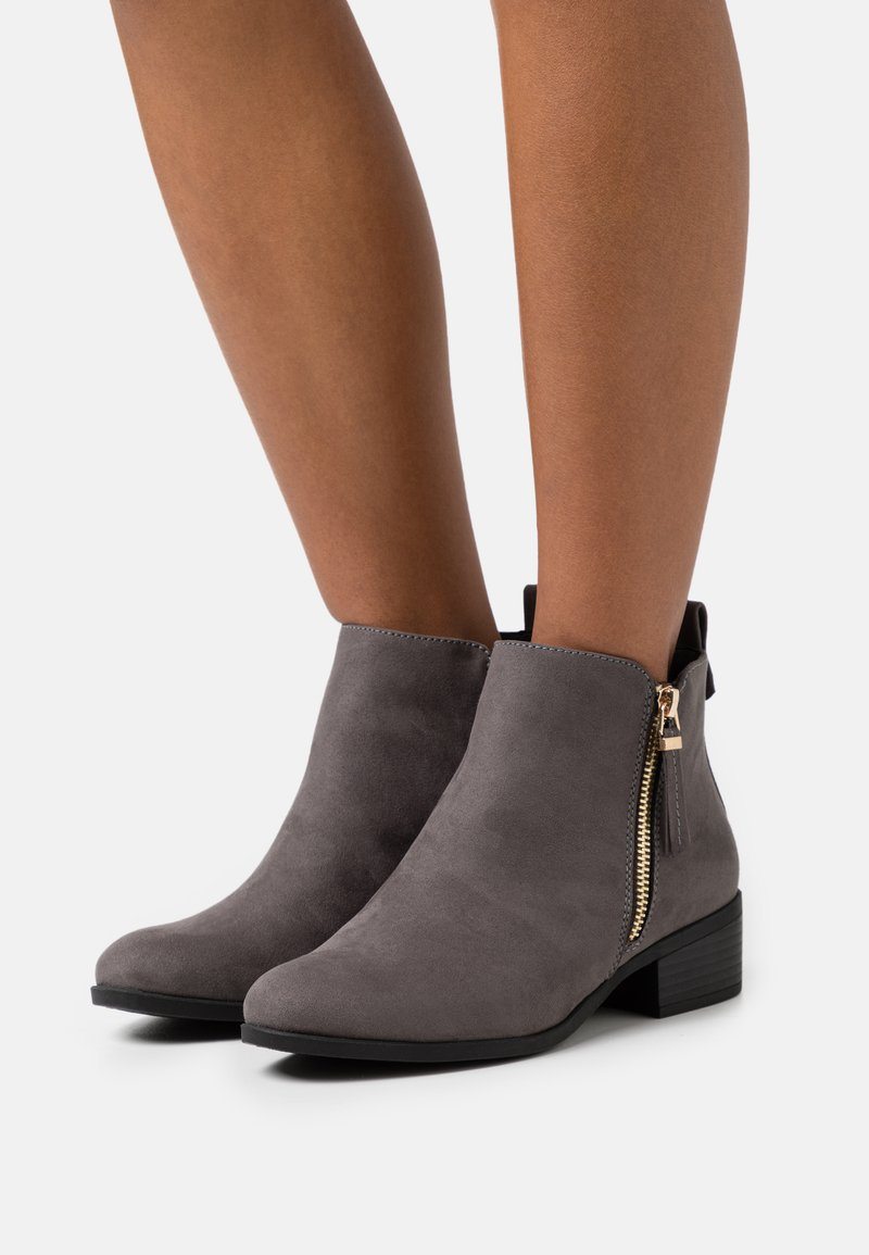 Dorothy Perkins Wide Fit - WIDE FIT MACRO SIDE ZIP BOOT - Ankle boots - grey