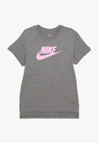 Nike Sportswear - TEE BASIC FUTURA - Triko spotiskem - carbon heather/pink - 0