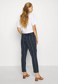 Vero Moda - VMEVA LOOSE PAPERBAG STRIPE PANT - Trousers - navy blazer/birch - 2