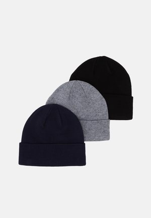 3 PACK UNISEX - Mütze - black/grey/dark blue