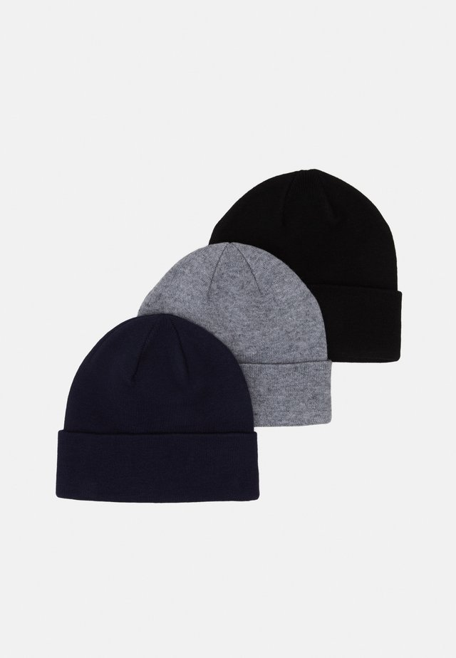 3 PACK UNISEX - Beanie - black/grey/dark blue