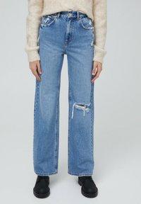 PULL&BEAR - MIT HOHEM BUND - Flared jeans - blue-grey - 0