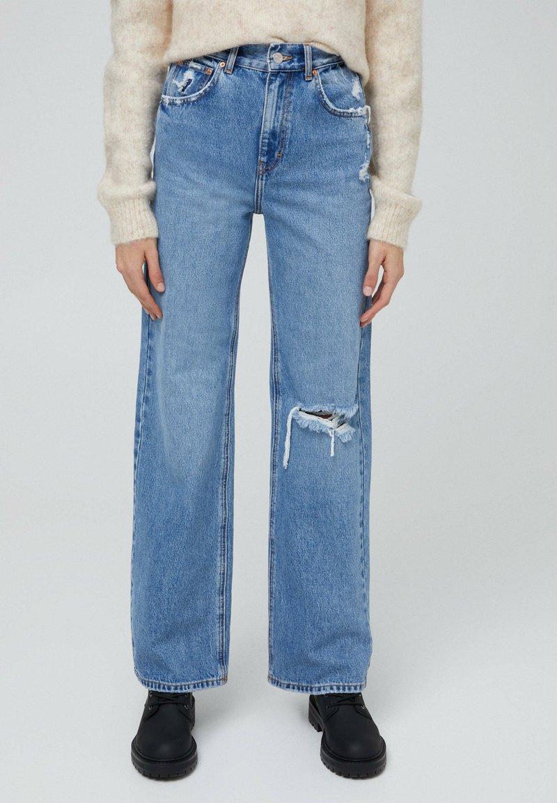 PULL&BEAR - MIT HOHEM BUND - Flared jeans - blue-grey