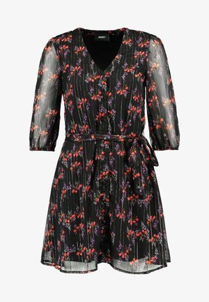 OBJKRISTINE SHORT DRESS - Day dress - black/fucshia red