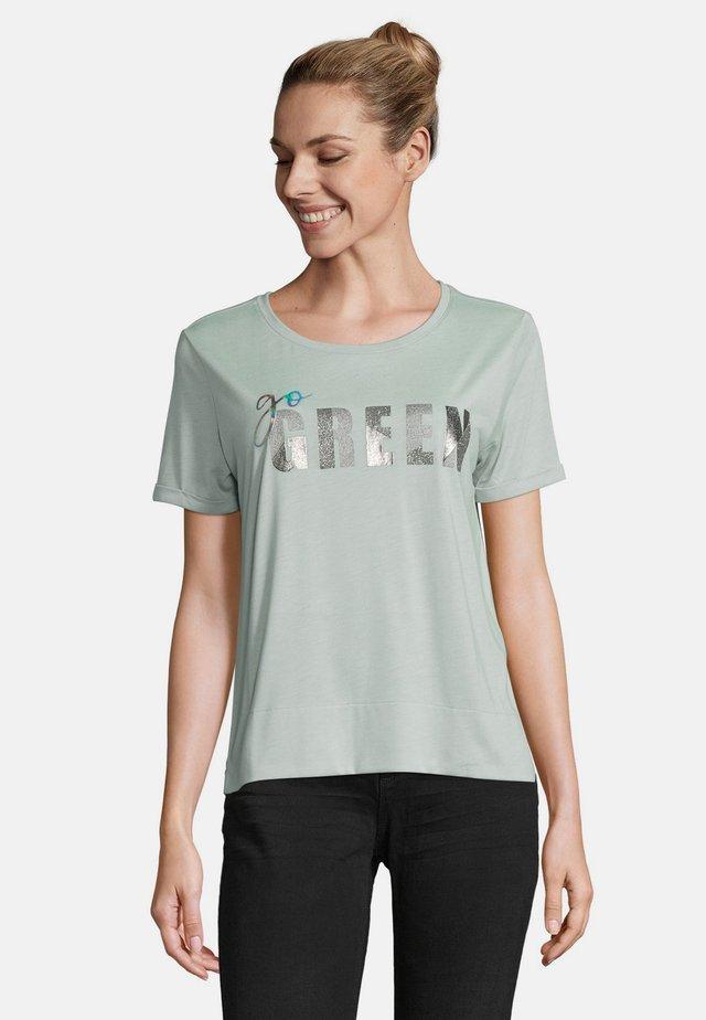 Print T-shirt - green melange
