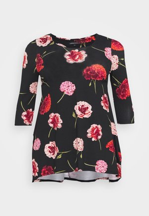 FLORAL DIP BACK TUNIC - Long sleeved top - navy