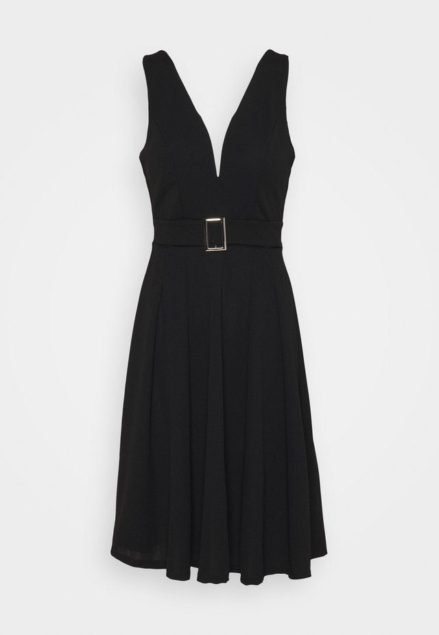 AITANA BELTTED MIDI DRESS - Jersey dress - black
