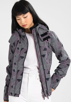 TECHNICAL HOODED PRINT POP ZIP WINDCHEAT - Windbreaker - grey