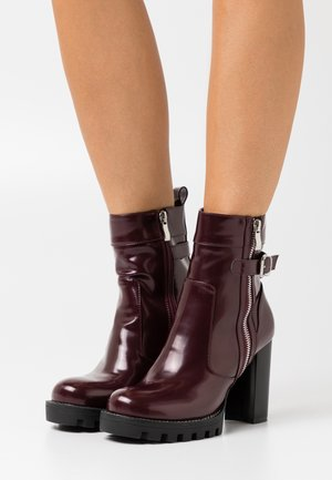 LETICIA - High heeled ankle boots - bordo