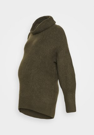 FASH SLOUCHY ROLL NECK - Jumper - dark khaki