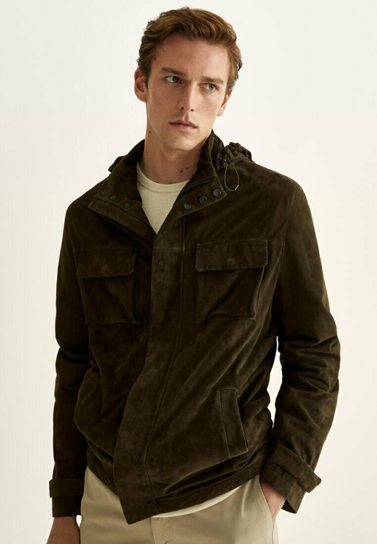 Massimo Dutti - Leather jacket - khaki