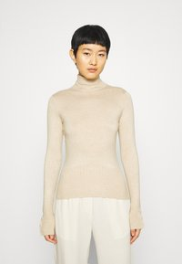 Dorothy Perkins - PEARL BUTTON CUFF ROLL NECK JUMPER - Jumper - oatmeal - 0