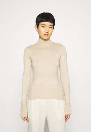 PEARL BUTTON CUFF ROLL NECK JUMPER - Jumper - oatmeal
