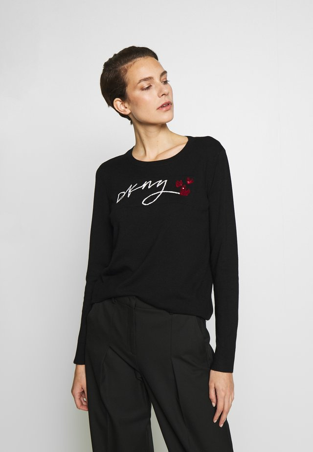 LOGO SEQUIN HEART - Strickpullover - black