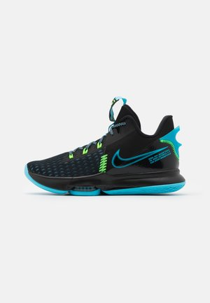 LEBRON WITNESS V - Basketball shoes - black/lagoon pulse/green strike