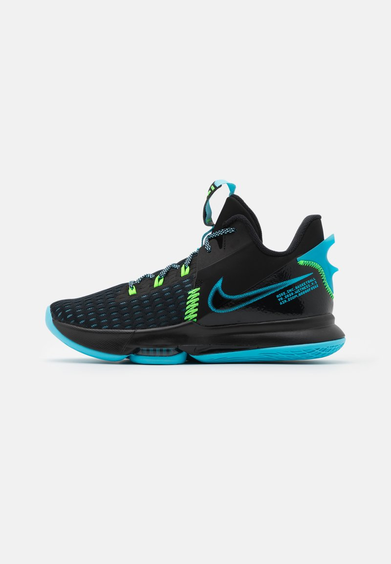 Nike Performance - LEBRON WITNESS V - Basketball shoes - black/lagoon pulse/green strike