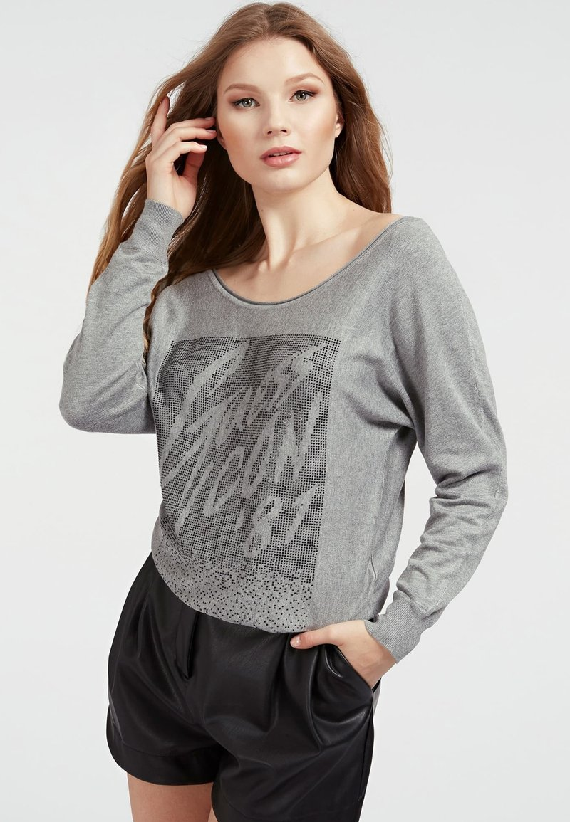 Guess - FRONTAL STRASS - Sweatshirt - gris