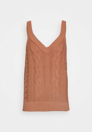 NATURAL DYE VNECK CABLE TANK - Top - sand dune