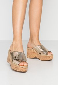 River Island - Heeled mules - gold - 0