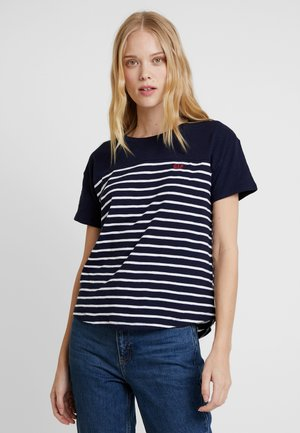 DAY TEE - T-shirts med print - navy/white