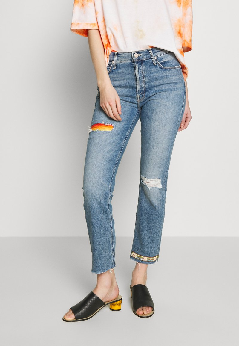 Mother - THE MID RISE BUTTON FLY DAZZLER ANKLE FRAY  - Straight leg jeans - blue