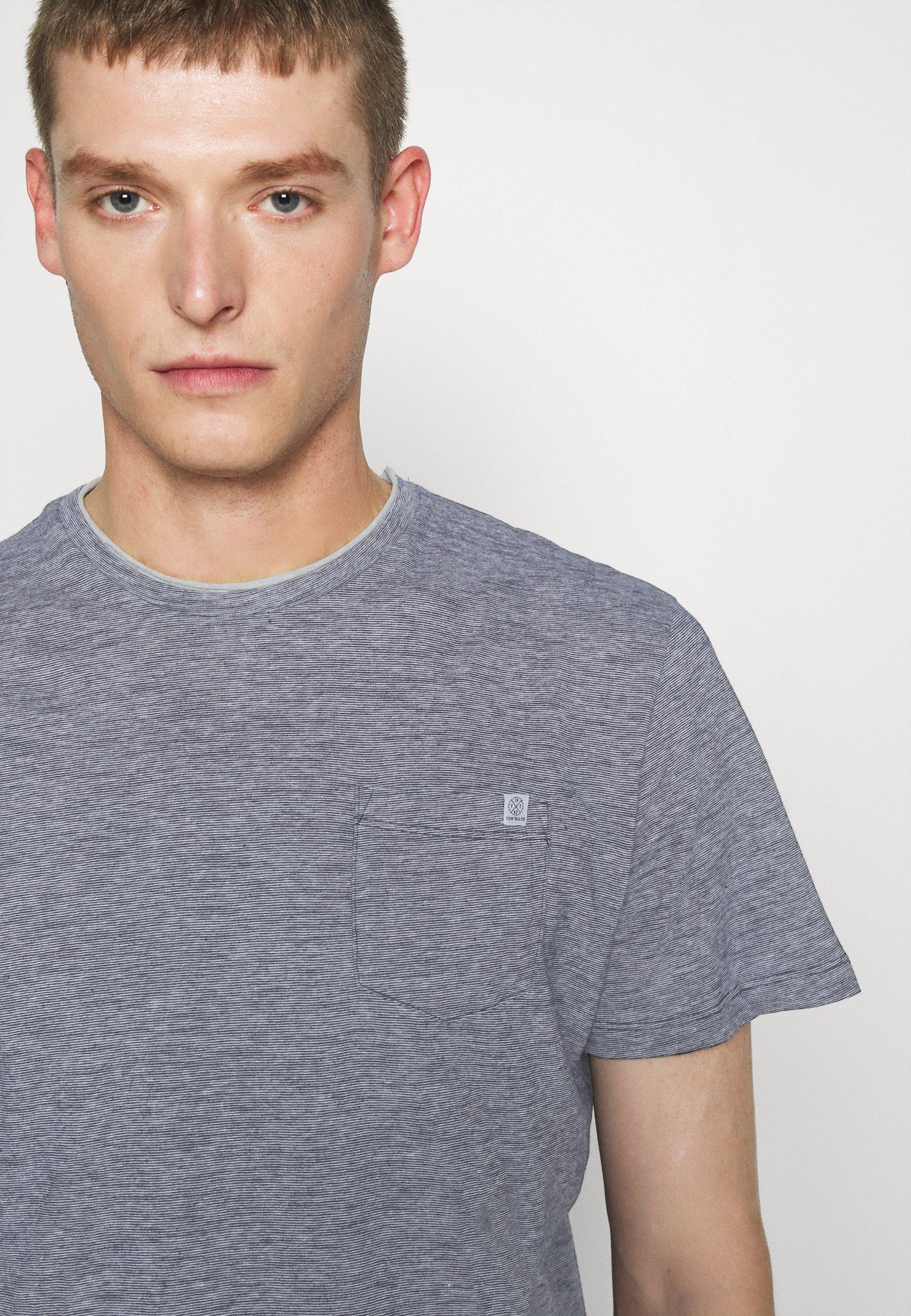 TOM TAILOR FINELINER WITH POCKET - Print T-shirt - dark blue stripe Y3LgZ