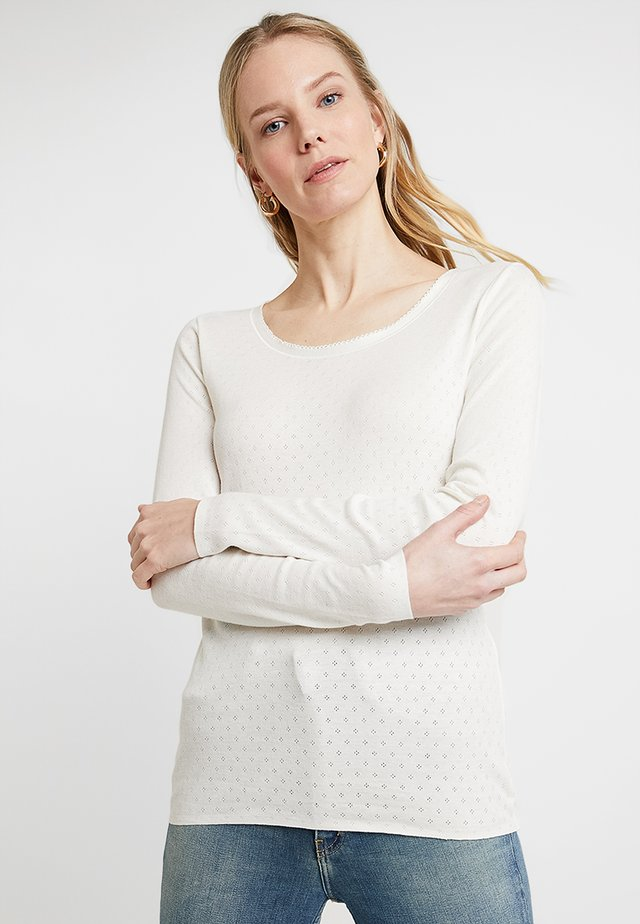 BASIC NEW POINTELLE - Long sleeved top - cloud dancer