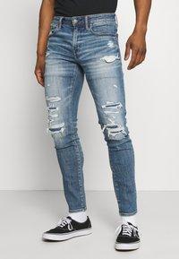 American Eagle - MEDIUM MENDED - Jeans Skinny Fit - indigo fray - 0