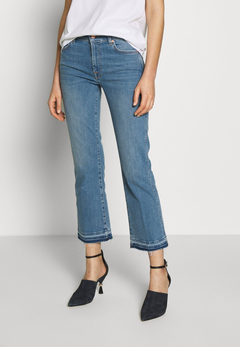 7 for all mankind - CROPPED UNROLLED - Džíny Bootcut - light blue