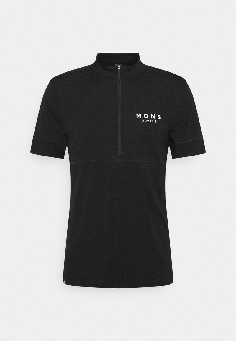 Mons Royale - CADENCE HALF ZIP T - Triko spotiskem - black