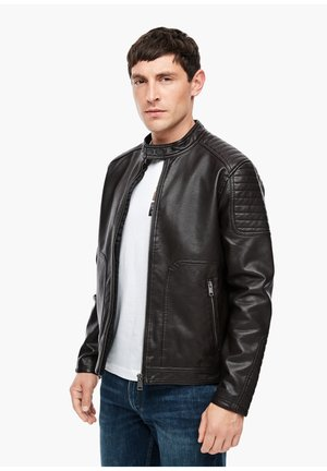 Faux leather jacket - dark brown